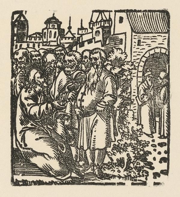 Nemecký grafik z 1. polovice 16. storočia – Kristus pred bránami Jeruzaléma