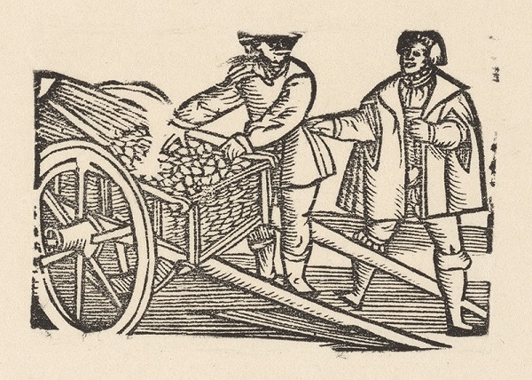 Nemecký grafik z polovice 16. storočia – Enšígl rozoberá náklad káričky