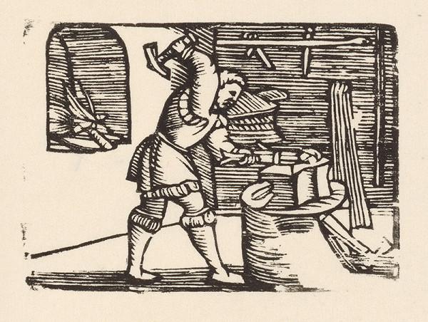 Nemecký grafik z polovice 16. storočia - Enšpígl kuje podkovu