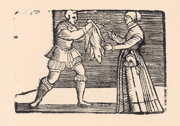 Nemecký grafik z polovice 16. storočia – Enšpígl nesie gazdinej psiu kožu