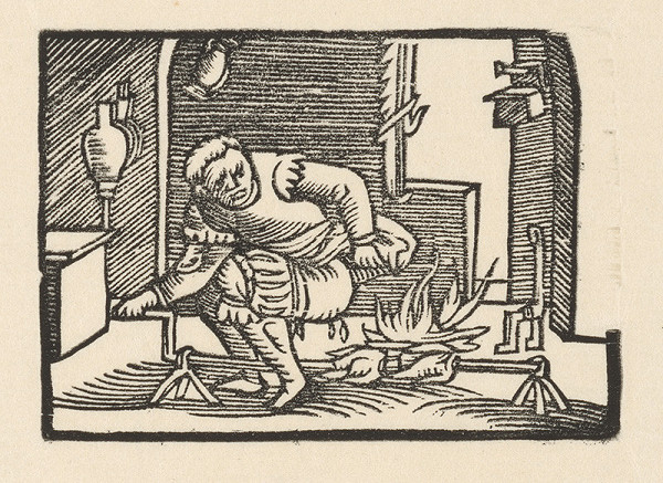 Nemecký grafik z polovice 16. storočia - Enšpígl znečisťuje pečienku