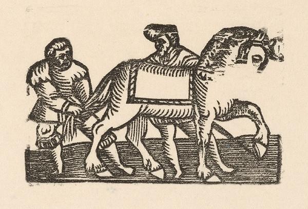 Nemecký grafik z 1. polovice 16. storočia - Enšpígl zapletá koňovi chvost