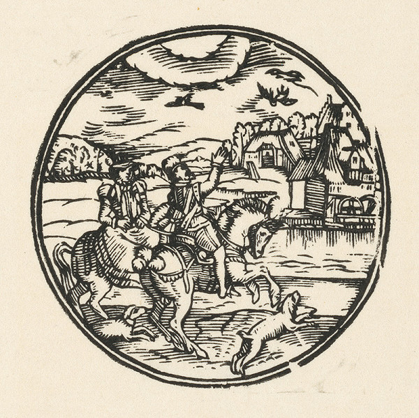 Nemecký grafik z polovice 16. storočia - Šľachtický pár na love