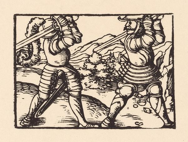 Nemecký grafik z polovice 16. storočia - Súboj dvoch rytierov v krajine