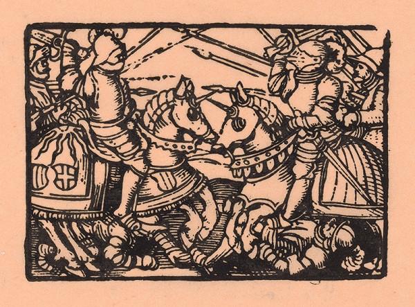 Nemecký grafik z polovice 16. storočia – Boj rytierov s kopijami na koňoch