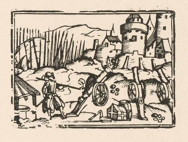 Nemecký grafik zo začiatku 17. storočia – Delá pred hradbami mesta