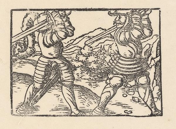 Nemecký grafik z polovice 16. storočia – Súboj dvoch rytierov v krajine