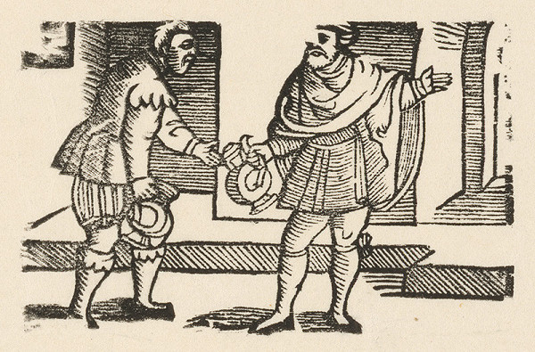 Nemecký grafik z 1. polovice 16. storočia – Enšpígl obstaráva víno