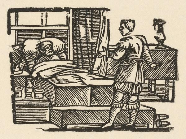 Nemecký grafik z polovice 16. storočia - Enšpígl lekárom