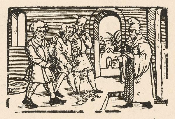 Nemecký grafik z 2. polovice 16. storočia - Ezopa privádzajú ku Xantovi