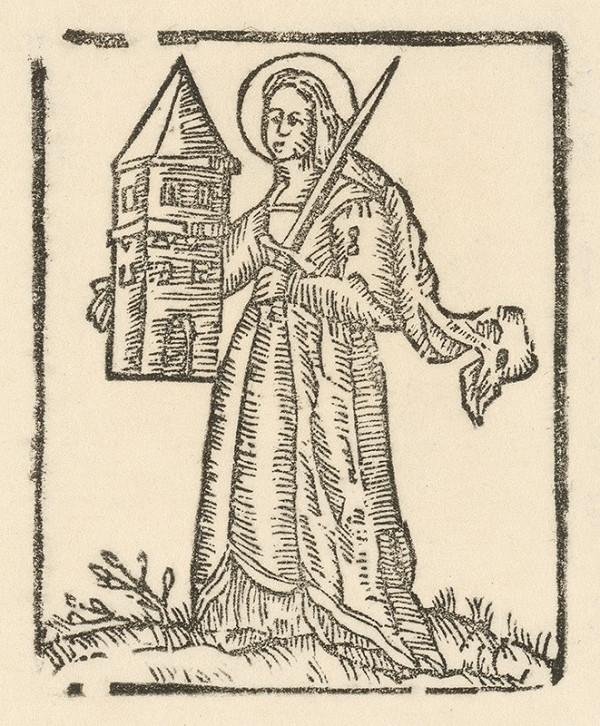 Moravský grafik zo začiatku 18. storočia - Svätá Barbara