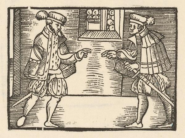 Nemecký grafik z 1. polovice 16. storočia – Rozhovor dvoch šľachticov