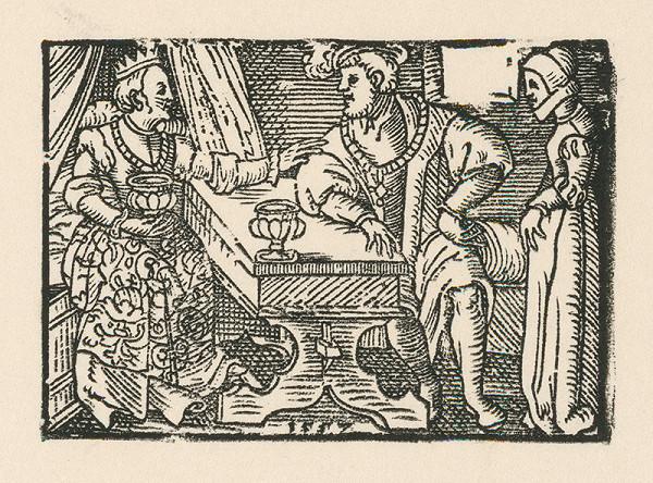 Nemecký grafik z 2. polovice 16. storočia – Cisár s manželkou v prítomnosti dvornej dámy