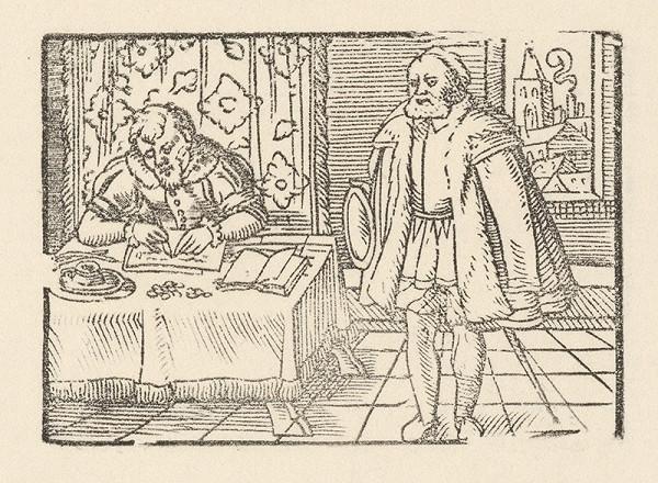 Nemecký grafik z 2. polovice 16. storočia – Knieža píše list