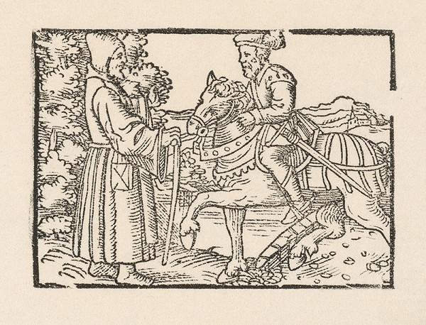 Nemecký grafik z 1. polovice 16. storočia – Stretnutie rytiera na koni s mníchom