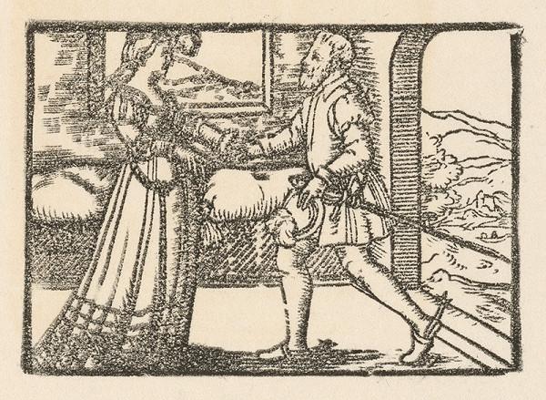 Nemecký grafik z 2. polovice 16. storočia – Stretnutie rytiera s dvornou dámou