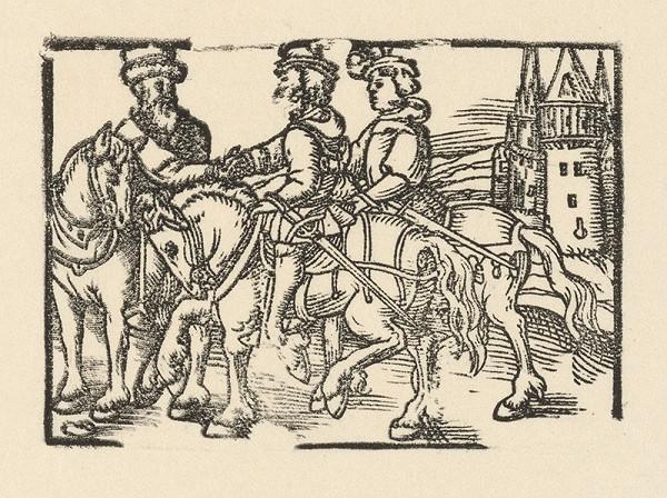 Nemecký grafik z 2. polovice 16. storočia – Rozlúčka troch jazdcov