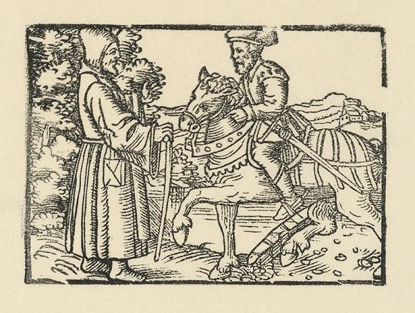 Nemecký grafik z polovice 16. storočia - Stretnutie rytiera na koni