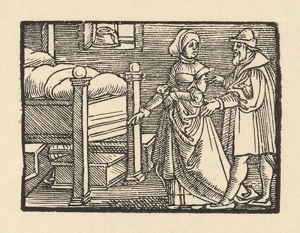 Nemecký grafik z 1. polovice 16. storočia – Žena ukazuje priateľovi truhličku s kráľovskými klenotami