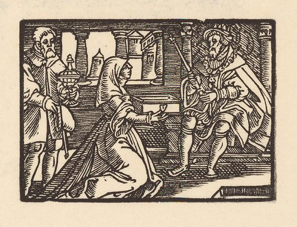Nemecký grafik z 1. polovice 16. storočia – Kľačiaca žena pred kráľom