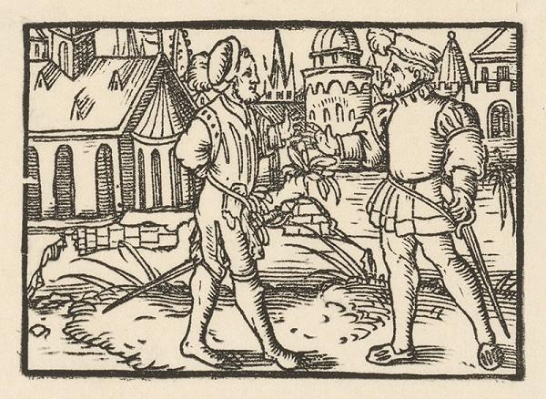 Nemecký grafik z 1. polovice 16. storočia – Rozhovor dvoch rytierov na okraji mesta