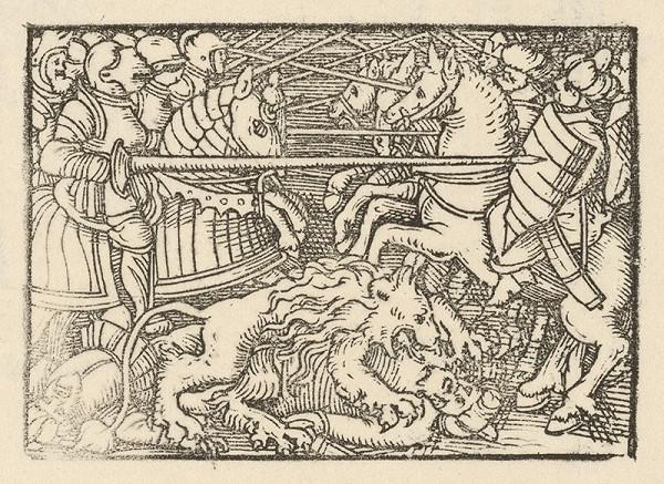 Nemecký grafik z polovice 16. storočia – Boj rytierov na koňoch za účasti leva