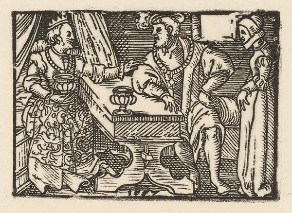 Nemecký grafik z 2. polovice 16. storočia - Cisár s manželkou v prítomnosti dvornej dámy