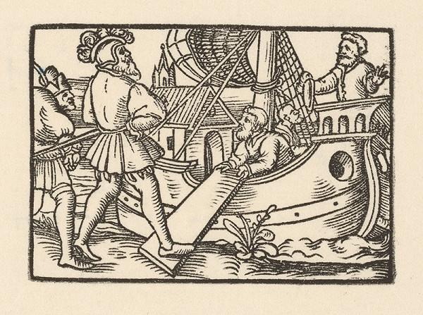 Nemecký grafik z 1. polovice 16. storočia – Fortunátus vstupuje na loď