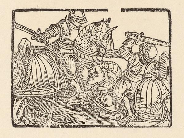 Nemecký grafik z polovice 16. storočia - Súboj dvoch rytierov na koňoch