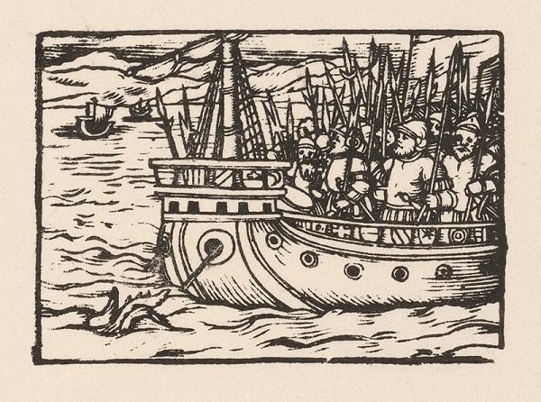 Nemecký grafik z polovice 16. storočia – Rytierske vojsko na morskom korábe