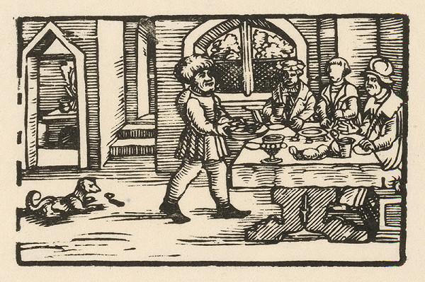 Nemecký grafik z 2. polovice 16. storočia – Ezop prináša trom stolovníkom misu jedla