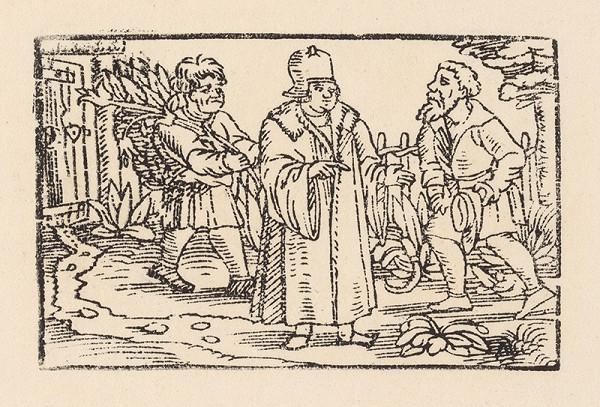 Nemecký grafik z 2. polovice 16. storočia – Ezop a Xantus u záhradníka