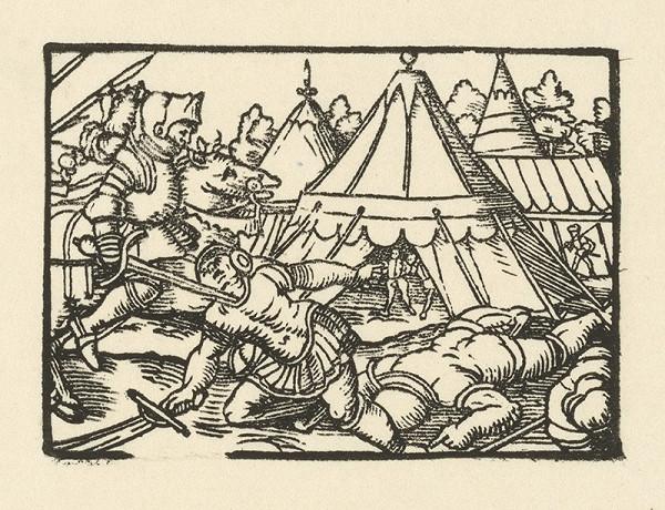 Nemecký grafik z polovice 16. storočia – Zavraždenie rytiera pred stanom