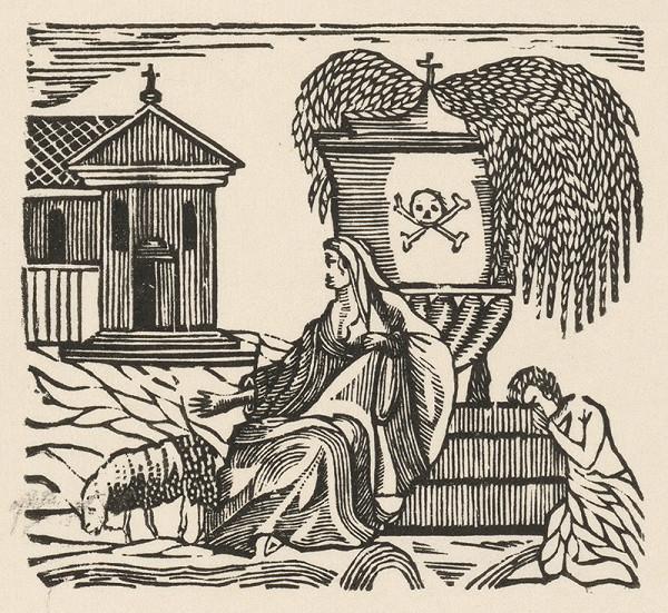 Moravský grafik z 1. polovice 19. storočia – Nešťastní milenci pri hrobe