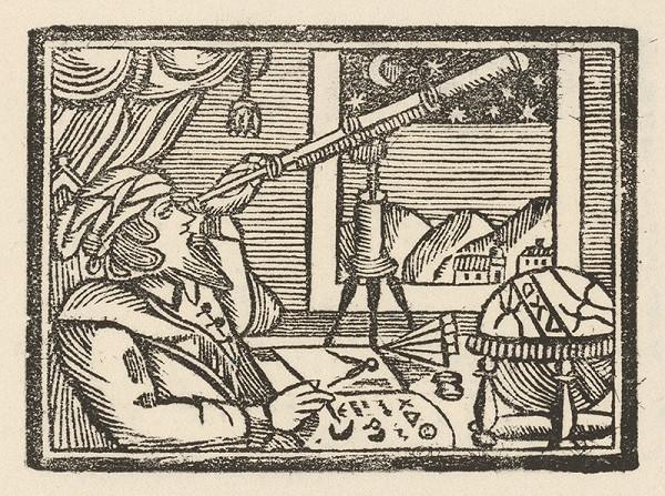 Moravský grafik z prelomu 18. - 19. storočia - Muž s ďalekohľadom