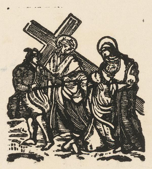 Moravský grafik zo začiatku 19. storočia - Kristus s krížom stretá Pannu Máriu