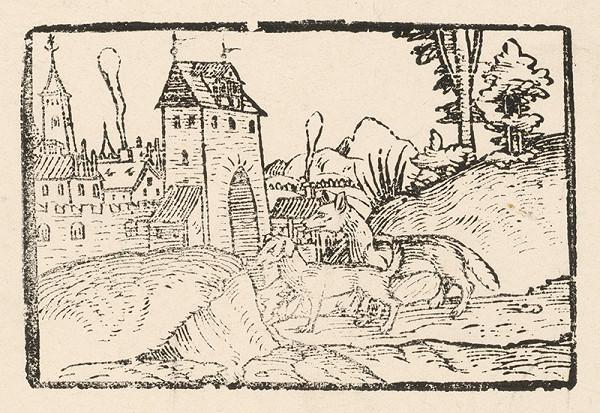 Nemecký grafik z 2. polovice 16. storočia – Líška a pes pred mestskou bránou