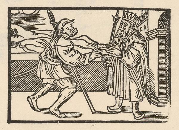 Nemecký grafik z 2. polovice 16. storočia – Jovián v sedliackych šatách odovzdáva správu cisárovi