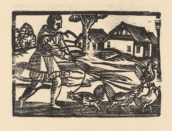 Nemecký grafik z 1. polovice 16. storočia – Enšpígl pasie sliepky