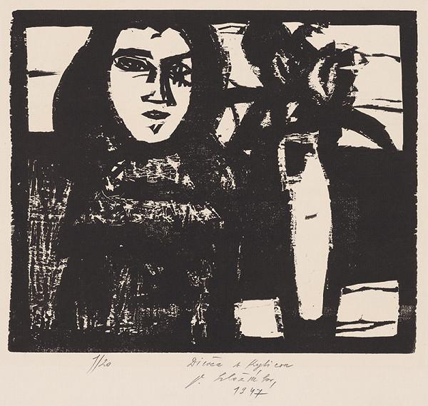 Vincent Hložník - Dievča s kyticou