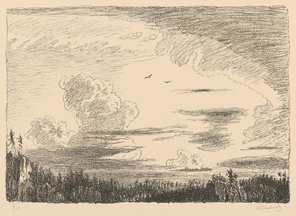 Max Švabinský - Večerná obloha nad skaliskami