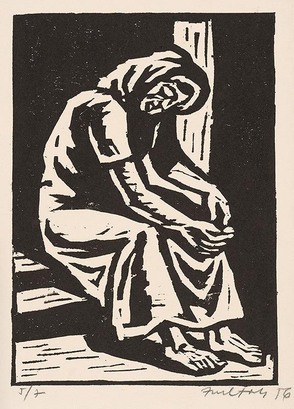 Ernest Zmeták – Žena sediaca na schodíkoch