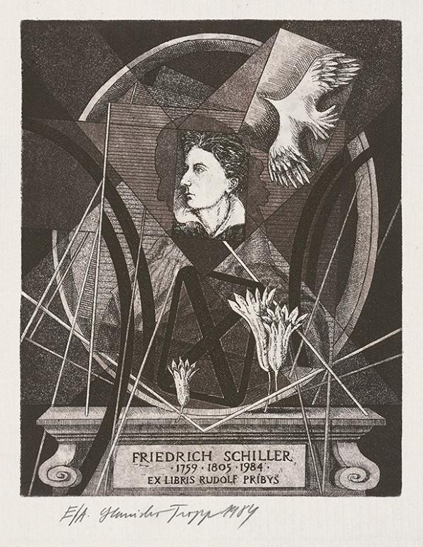Stanislav Tropp – Ex libris Rudolf Príbiš, Friedrich Schiller