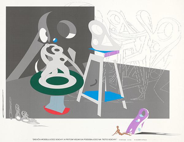 Vladimír Havrilla – Dievča modelujúce sochy a pritom sa veľmi podobajúce na tieto sochy