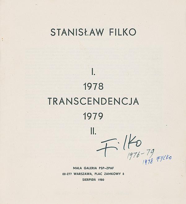 Stanislav Filko - STANISLAW FILKO: TRANSCENDENCJA (vyd. Mala Galeria, Warszawa)