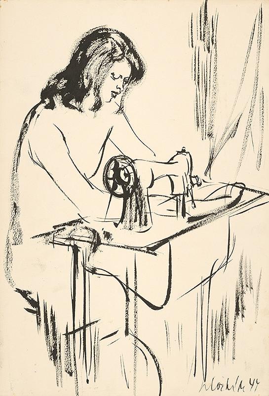 Vincent Hložník - Žena pri šijacom stroji