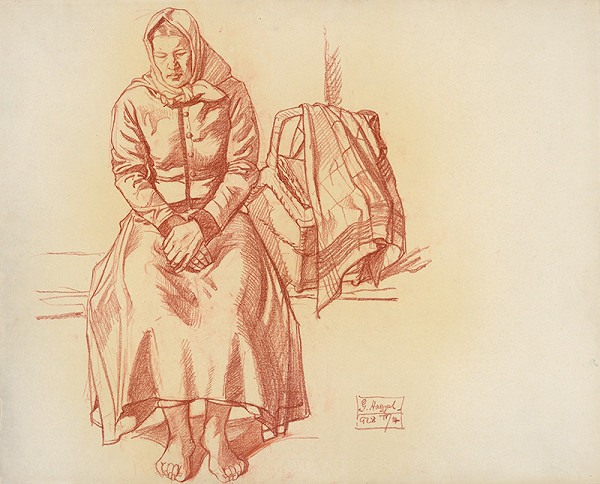 Gejza Angyal - Žena s košom