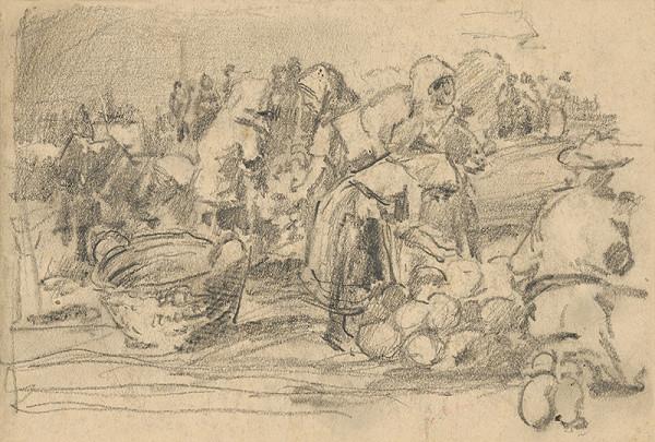 František Gyurkovits - Náčrt z trhu - trh s melónmi