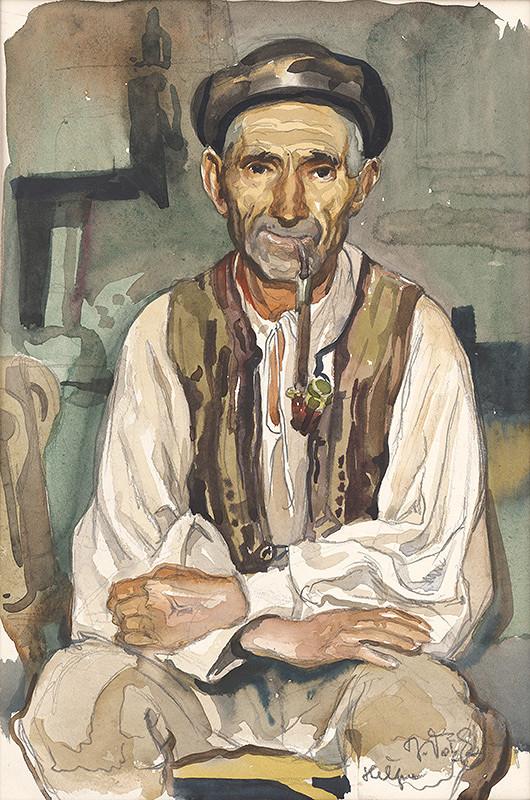 Jaroslav Vodrážka - Heľpa - Starec s fajkou