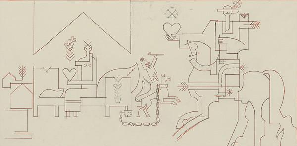 Oto Opršal - Kresba k nástennej maľbe